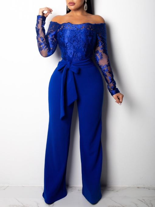 African Fashion Lace Patchwork Full Length Lace-Up Slim Women's Jumpsuit