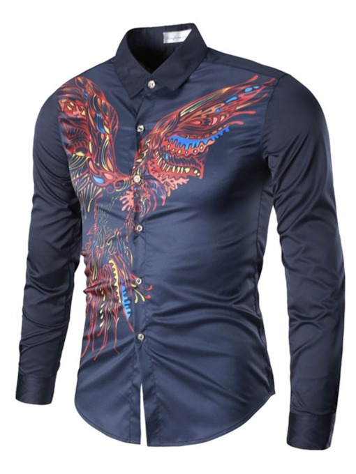 Lapel Print Slim Men's Shirt