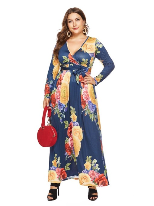 Print V-Neck Long Sleeve Pullover Women's Maxi Dress