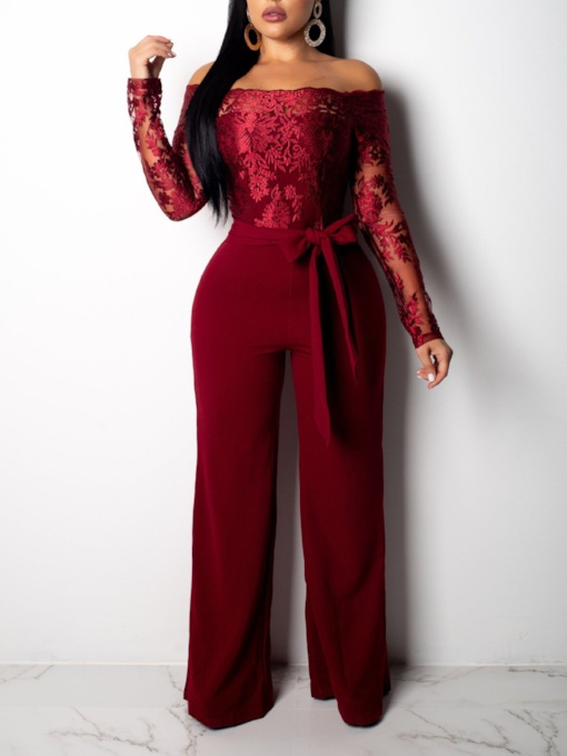 Lace Patchwork Off Shoulder Slim Women's Jumpsuit