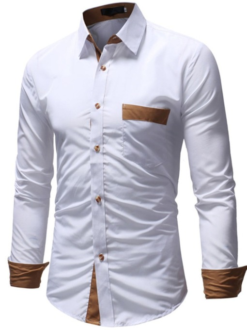 Lapel Color Block Casual Patchwork Single-Breasted Men's Shirt