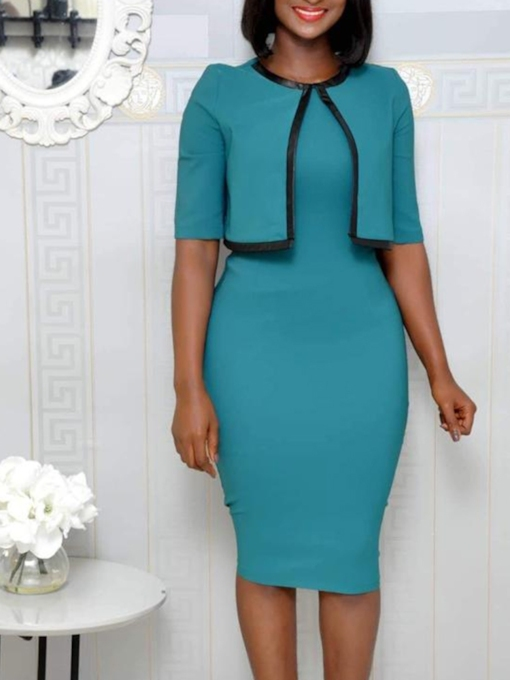 Half Sleeve Round Neck Bodycon Women's Sheath Dress