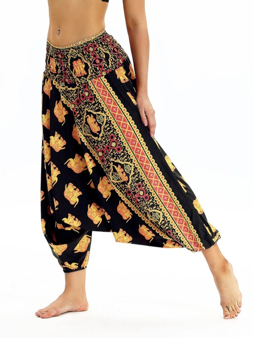 Dashiki Print Flower Low Crotch Sports Bloomers