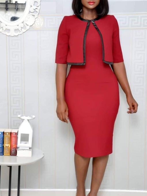 Half Sleeve Round Neck Casual Women's Sheath Dress