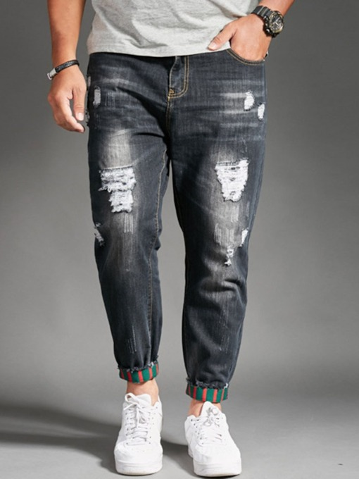 Straight Pleated Zipper Men's Jeans