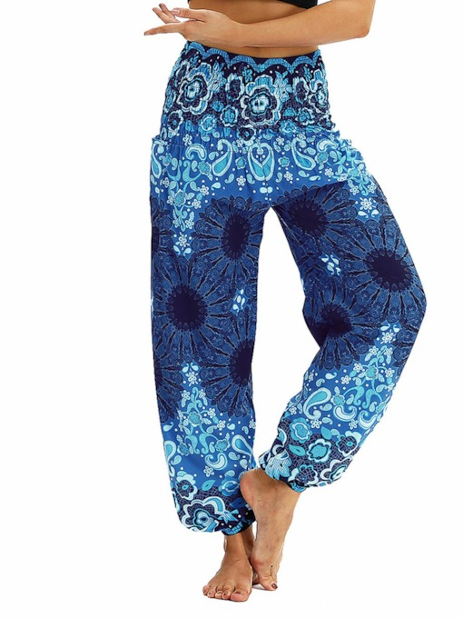 Belly Dance Dashiki Flower Casual Pants