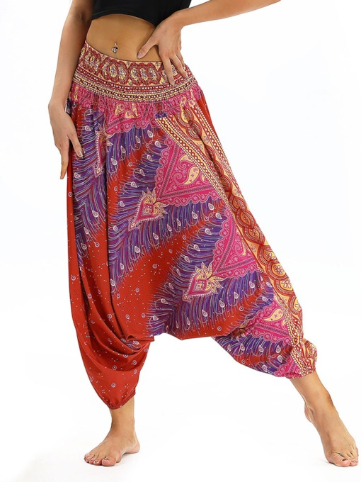 Dashiki Print Low Crotch Women's Yoga Pants