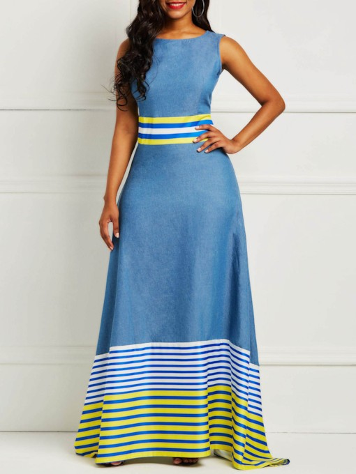 Patchwork Round Neck Sleeveless Women's Maxi Dress