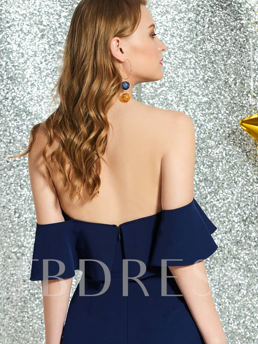Short Sleeves Ruffles Short Off-The-Shoulder Cocktail Dress