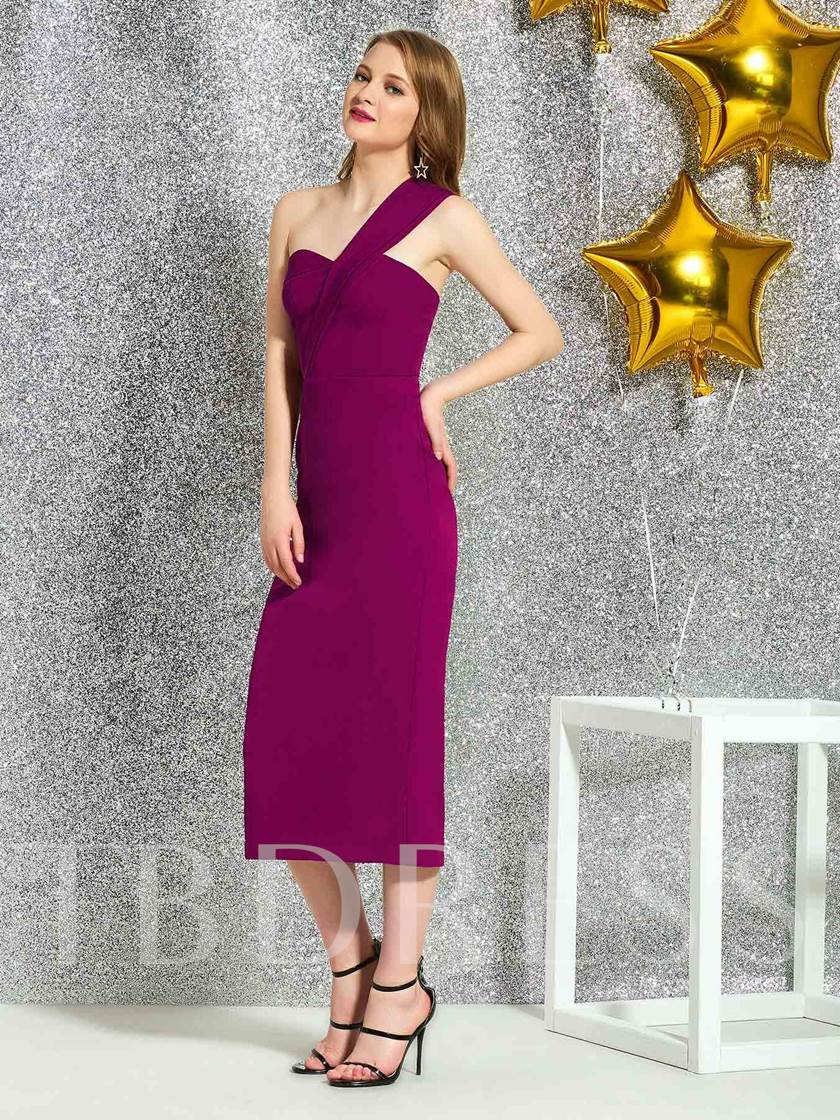 Tea-Length Sleeveless One Shoulder Sheath Cocktail Dress