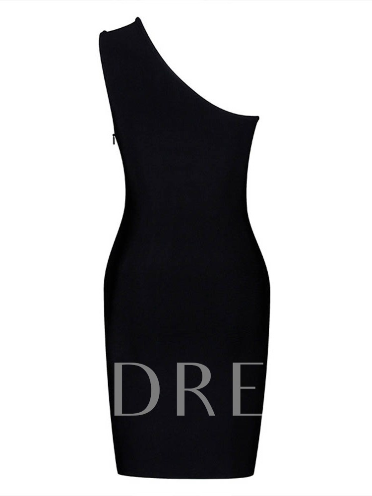 Asymmetric Sleeveless Plain Women's Sheath Dress