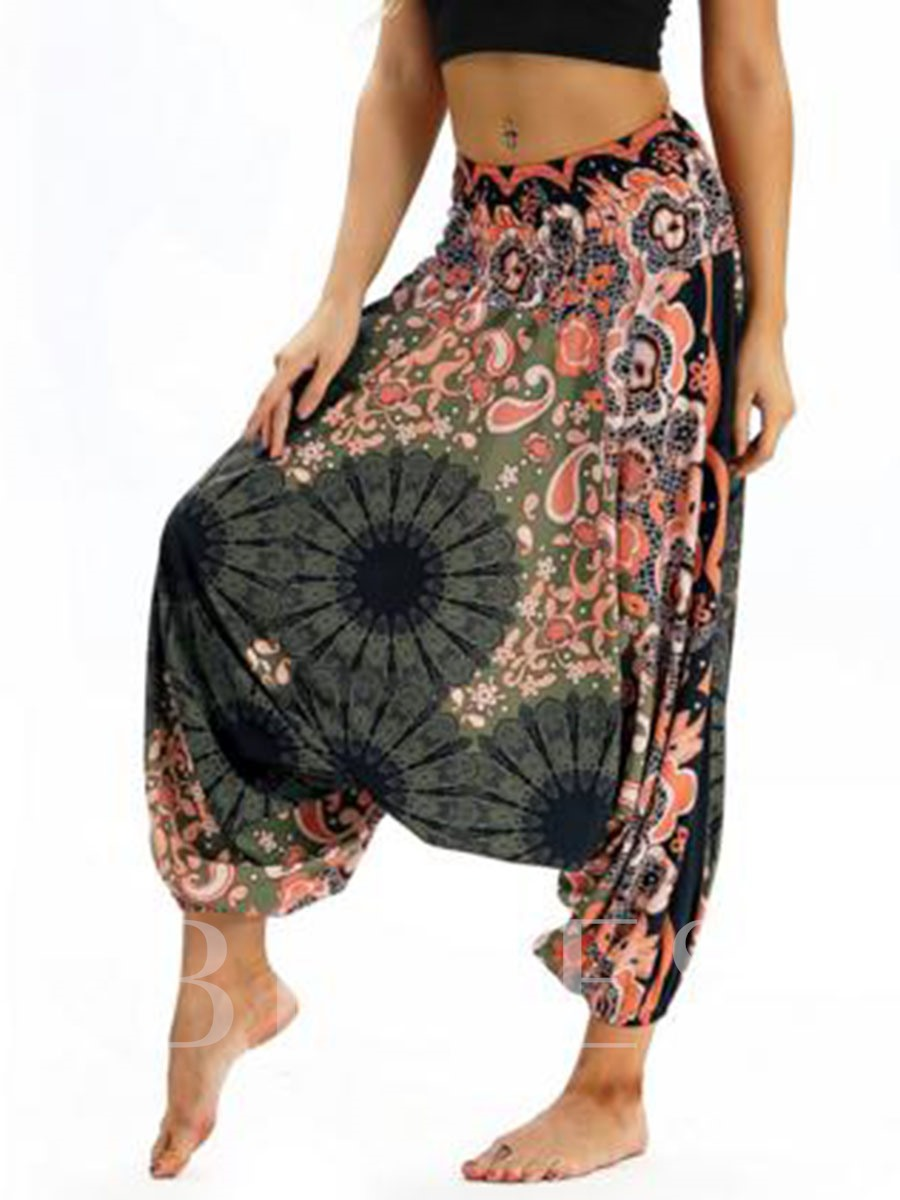 Print Flower Low Crotch Pants Sports Bloomers