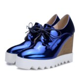 Platform Lace-Up Wedge Heel Round Toe Casual Sneakers