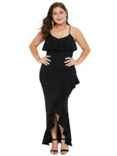 Plus Size Patchwork Sleeveless Spaghetti Strap Women's Maxi Dress