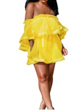 See-Through Long Sleeve Pleated Women's Day Dress