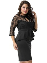 Plus Size Hollow Round Neck See-Through Women's Lace Dress