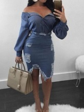 Denim Hole Casual Plain Single-Breasted Women's Two Piece Sets