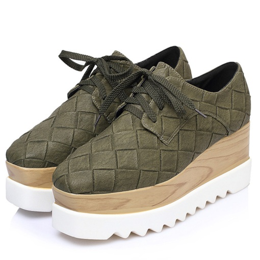 Slip-On Lace-Up Wedge Heel Square Toe Casual Sneakers