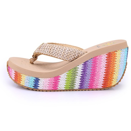 Thong Slip-On Woven Wedge Heel Summer Slippers