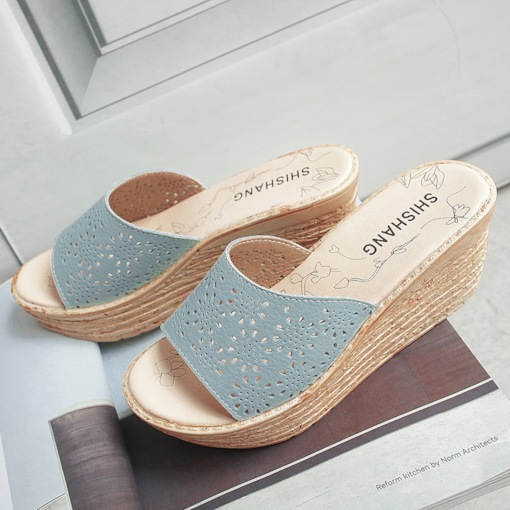Platform Slip-On Wedge Heel Casual Slippers for Women
