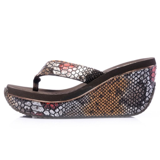 Alligator Print Wedge Heel Platform Slip-On Casual Slippers
