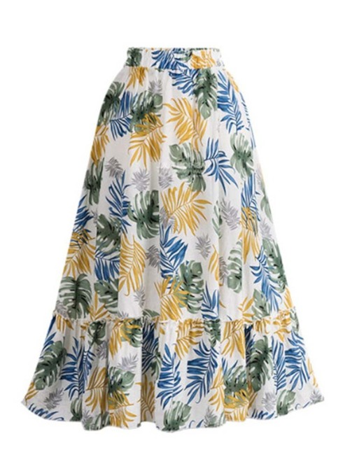 Print A-Line Mid-Calf Floral Travel Look Women's Skirt