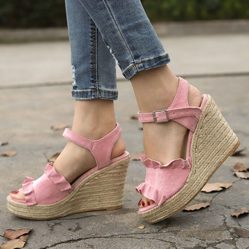 Open Toe Buckle Ankle Strap Wedge Heel Casual Women's Sandals