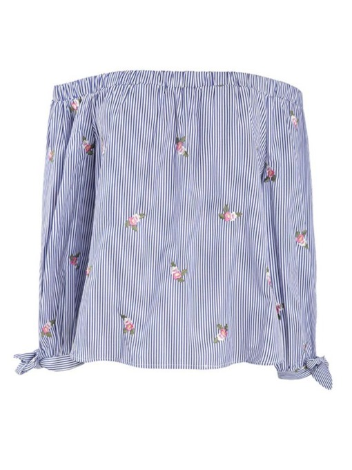 Stripe Off Shoulder Embroidery Plus Size Women's Blouse