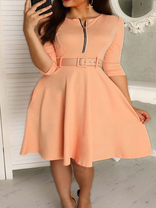 Belt Half Sleeve A-Line Zipper Women's Day Dress