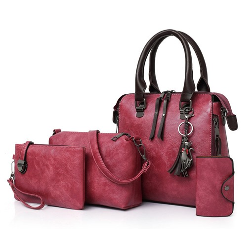 Casual PU Plain Soft Bag Set