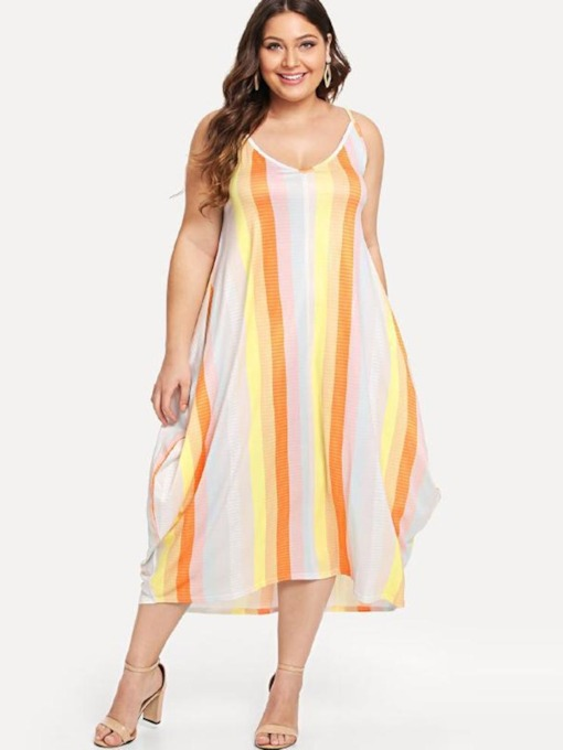 Plus Size V-Neck Print Sleeveless Stripe Sexy Women's Maxi Dress