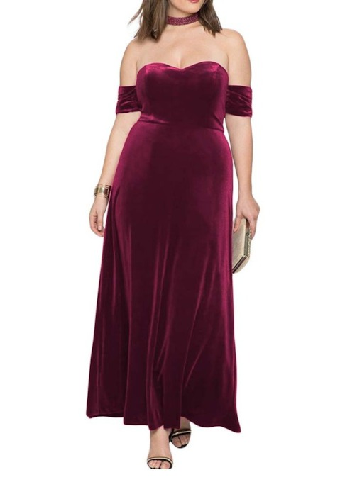 Plus Size Short Sleeve Off Shoulder Women's Maxi Dress