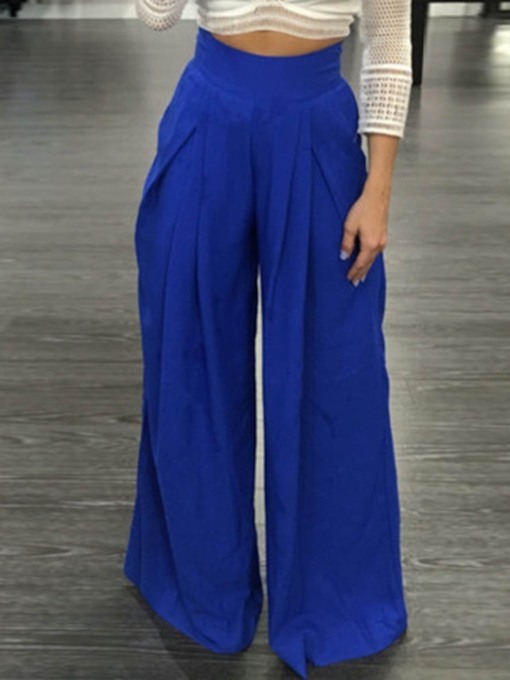 Pleated Loose Plain Full Length Women's Casual Pants