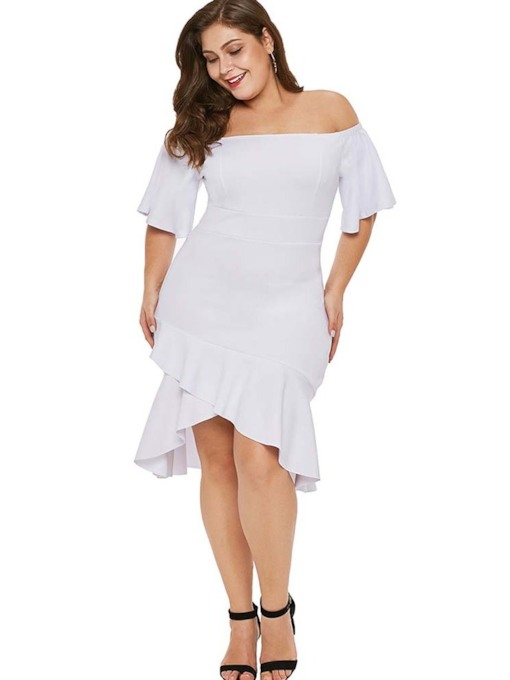Plus Size Half Sleeve Off Shoulder Asymmetric Women's Dress