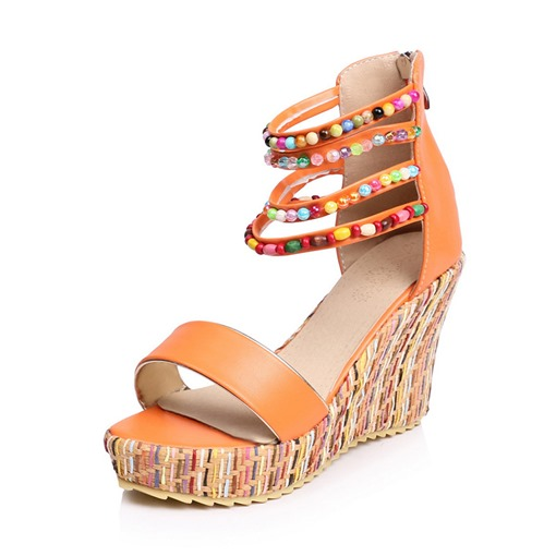 Wedge Heel Heel Covering Open Toe Zipper Beads Bohemia Sandals