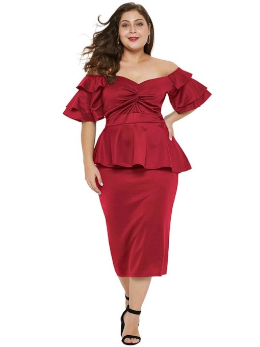 Half Sleeve Pleated Sexy Falbala Women's Day Dress