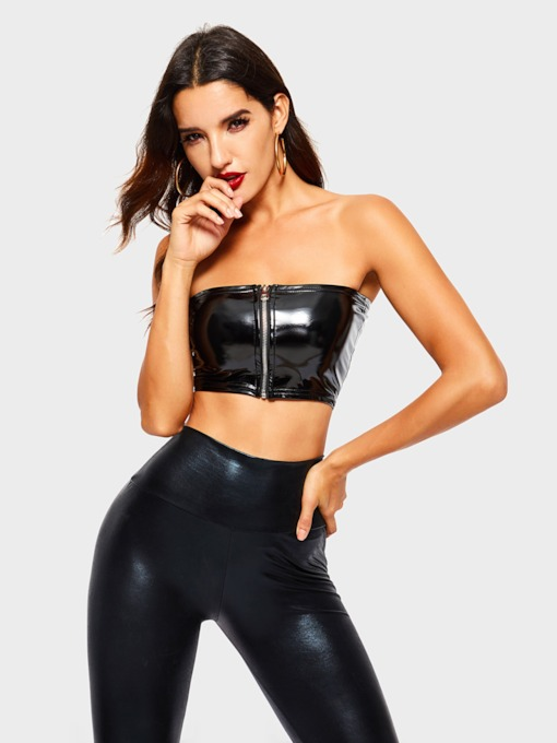 Strapless Zipper Sexy PU Women's Crop Top