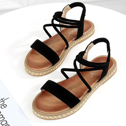 Strappy Elastic Band Open Toe Casual Flat Sandals for Women
