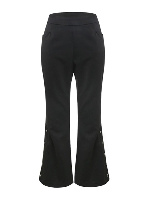 Plain Slim Button High Waist Women's Casual Pants