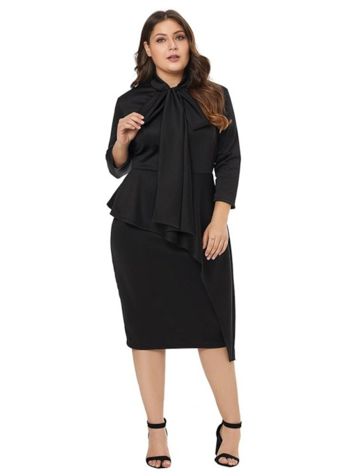 Plus Size Three-Quarter Sleeve Asymmetric Women's Sheath Dress
