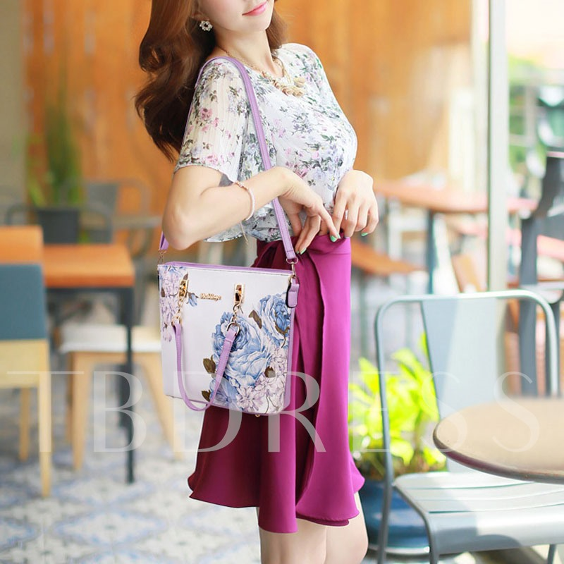Chinese Style PU Print Floral Bag Set