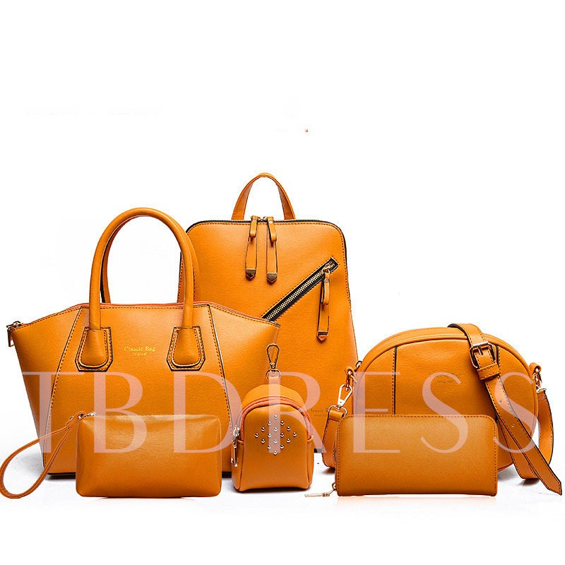 Casual Zippers Plain PU Tote Bag Set
