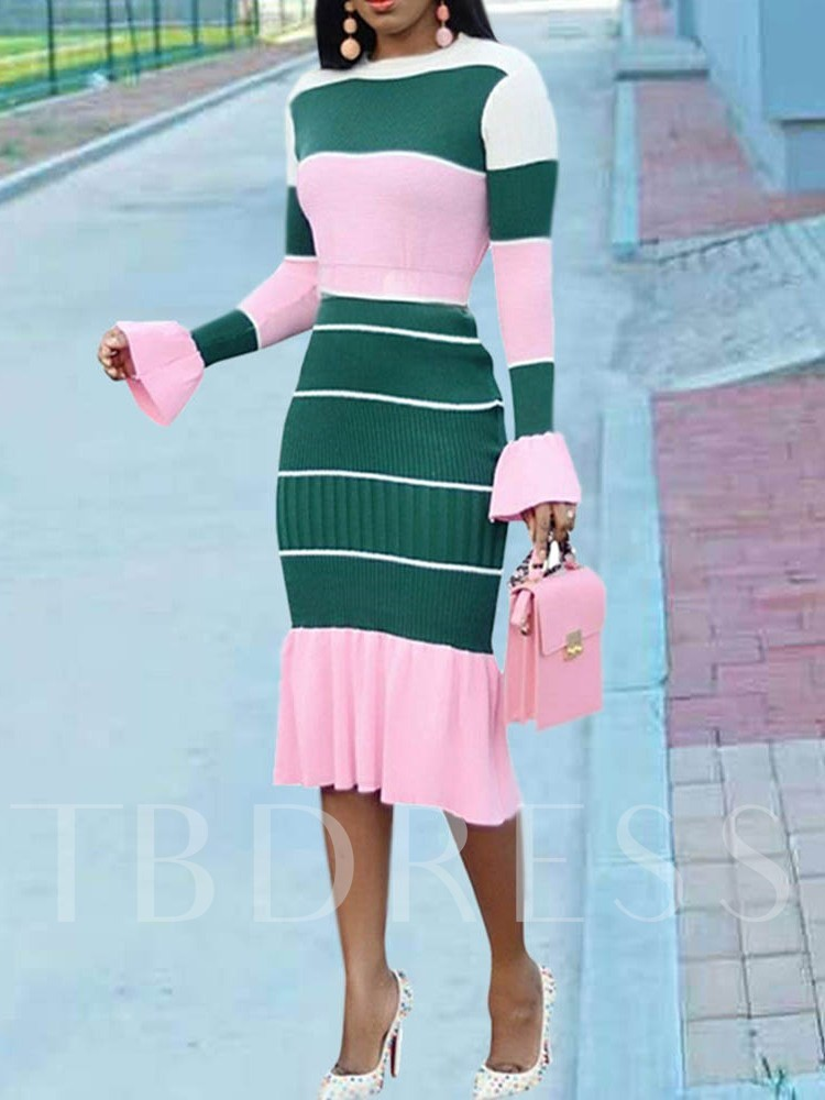 Long Sleeve Falbala High Waist Women's Bodycon Dress