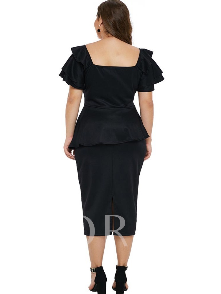 Plus Size Pleated Sexy Falbala Women's Day Dress