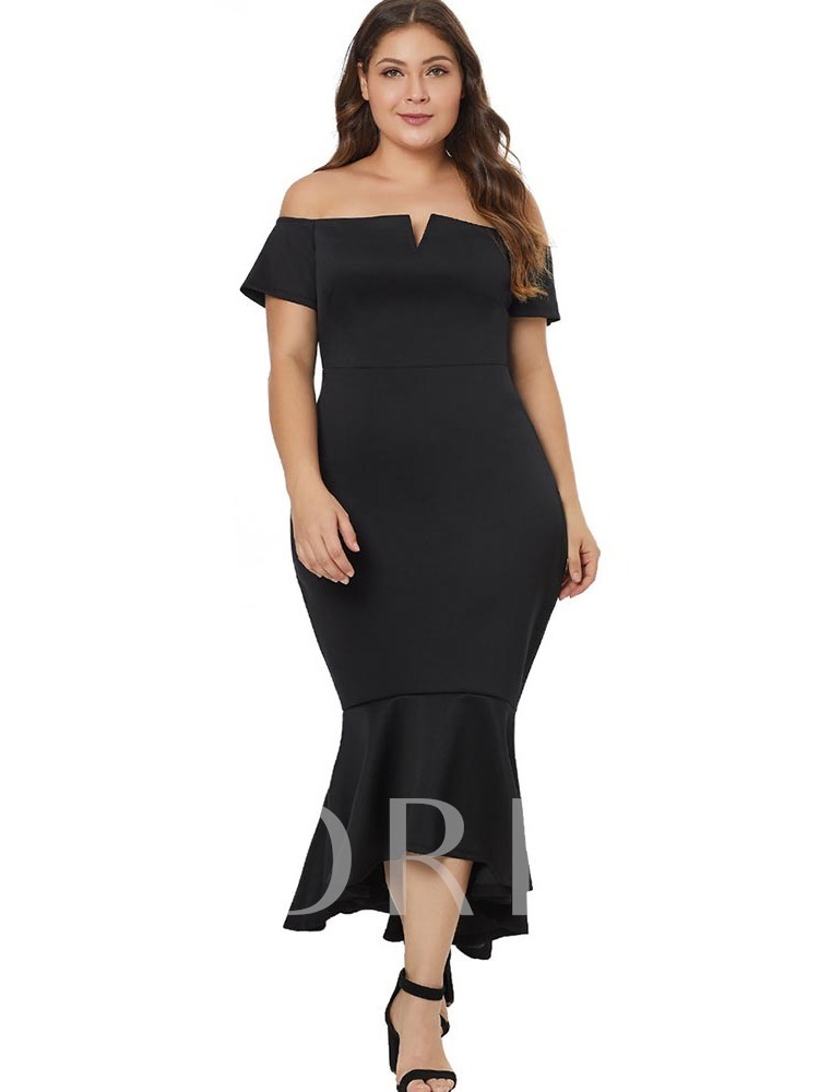 48d9470a30 Plus Size Off Shoulder Short Sleeve Asymmetric Plain Women's Maxi Dress.  Sold Out
