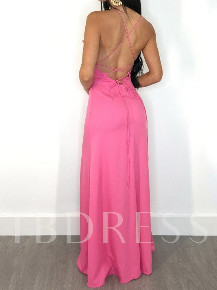 Sleeveless V-Neck Backless Plain Women's Maxi Dress
