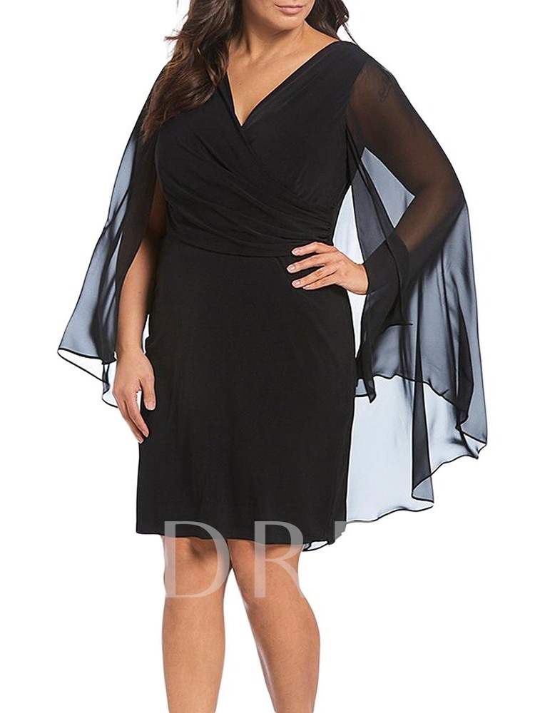 Plus Size Patchwork V-Neck Plain Mesh Women's Long Sleeve Dress