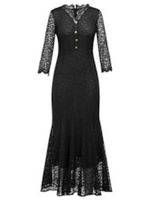V-Neck Hollow Plain Women's Lace Dress