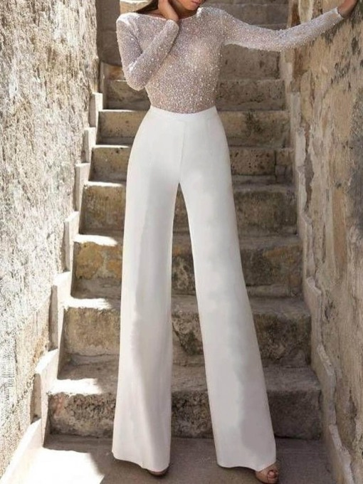 Full Length Color Block Sequins Office Lady Wide Legs Women's Jumpsuit