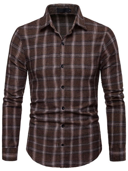 Slim Casual Lapel Plaid Men's Shirt